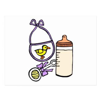 bottle rattle bib lavender postcard