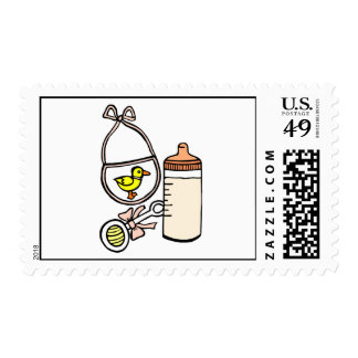 bottle rattle bib peach postage