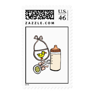 bottle rattle bib peach stamps