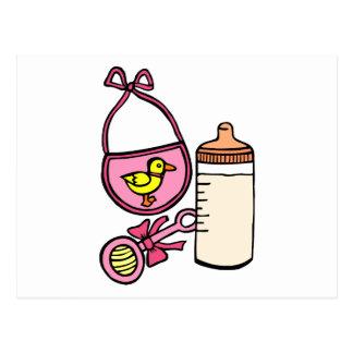bottle rattle bib - pink postcard