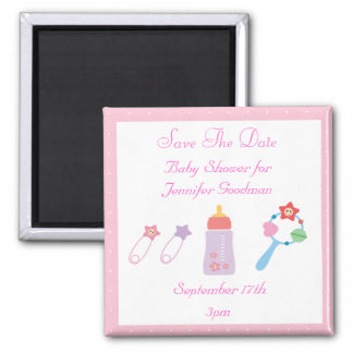 Bottle & Rattle Pink Save The Date Baby Shower 2 Inch Square Magnet