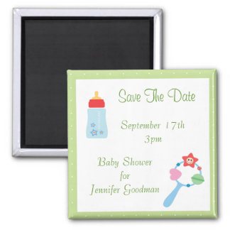 Bottle & Rattle Save The Date Baby Shower 2 Inch Square Magnet