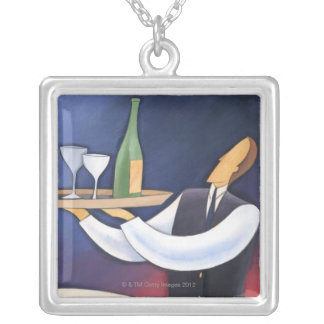 Bottle Service Silver Plated Necklace