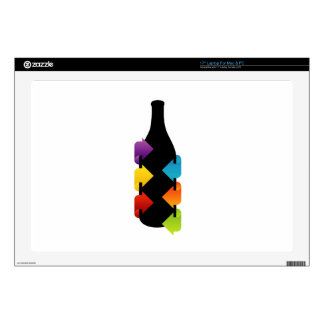 """Bottle shaped design element 17"""" laptop skins"""