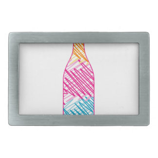 Bottle with colorful sketches rectangular belt buckle