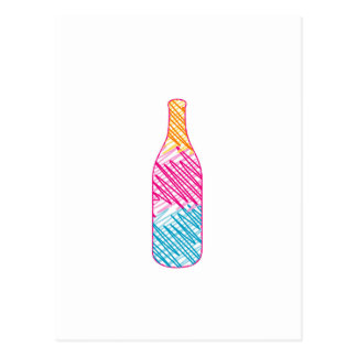 Bottle with colorful sketches postcard