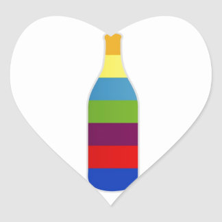 Bottle with colorful strips heart sticker