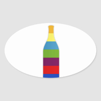 Bottle with colorful strips oval sticker