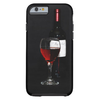 Bottle with red wine, red wine glass tough iPhone 6 case