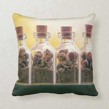 Beach Themed Bottled Beaches Throw Pillow