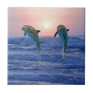 Bottlenose Dolphin at Sunrise Ceramic Tile