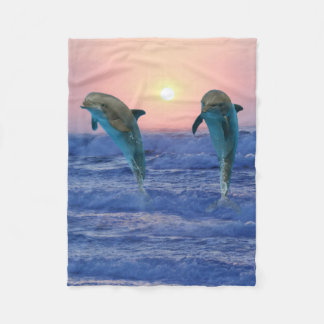 Bottlenose Dolphin at Sunrise Fleece Blanket