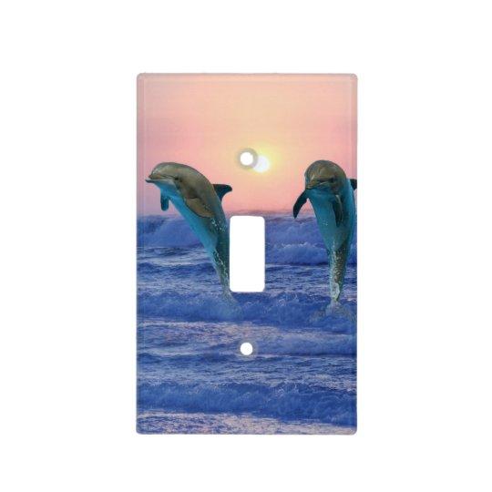 Bottlenose Dolphin at Sunrise Light Switch Cover
