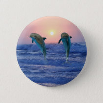 Bottlenose Dolphin at Sunrise Pinback Button