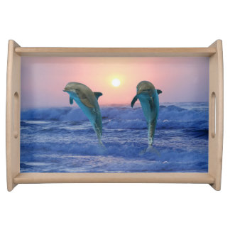Bottlenose Dolphin at Sunrise Serving Tray