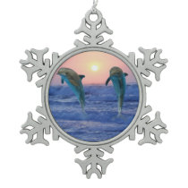 Bottlenose Dolphin at Sunrise Snowflake Pewter Christmas Ornament