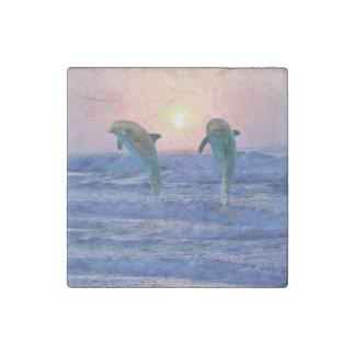 Bottlenose Dolphin at Sunrise Stone Magnet