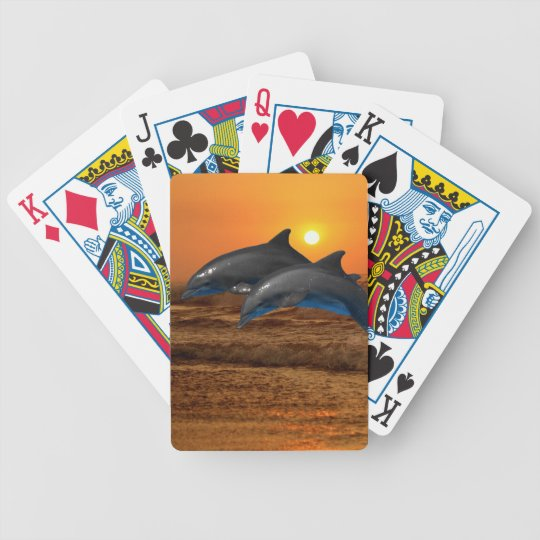 Bottlenose Dolphin at Sunset Bicycle Playing Cards