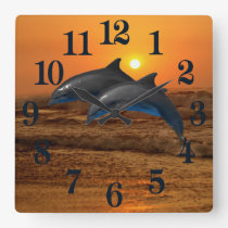 Bottlenose Dolphin at Sunset Square Wall Clock