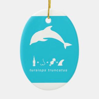 bottlenose dolphin blue hex.png ceramic ornament