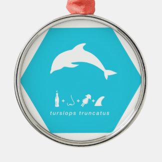bottlenose dolphin blue hex.png metal ornament