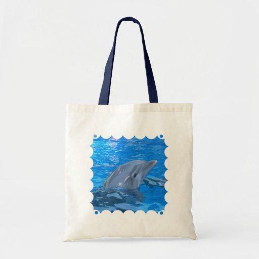 Bottlenose Dolphin Environmental Tote Canvas Bags