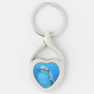 Bottlenose Dolphin looks at the camera under water Keychain