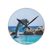 Bottlenose Dolphin Round Clock