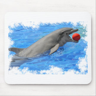 Bottlenose dolphin swimming with red ball mouse pad