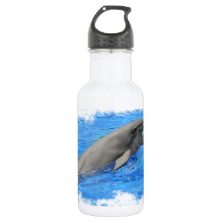Bottlenose dolphin swimming with red ball water bottle
