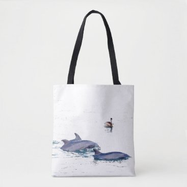 Beach Themed Bottlenose Dolphins Wildlife Animal Ocean Tote Bag