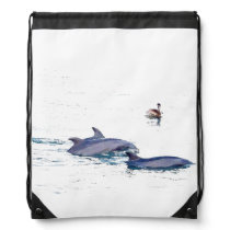 Bottlenose Dolphins Wildlife Animals Ocean Drawstring Backpack