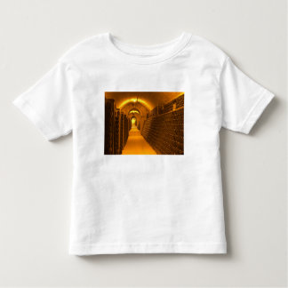 Bottles aging either in pupitres (racks) waiting t shirt
