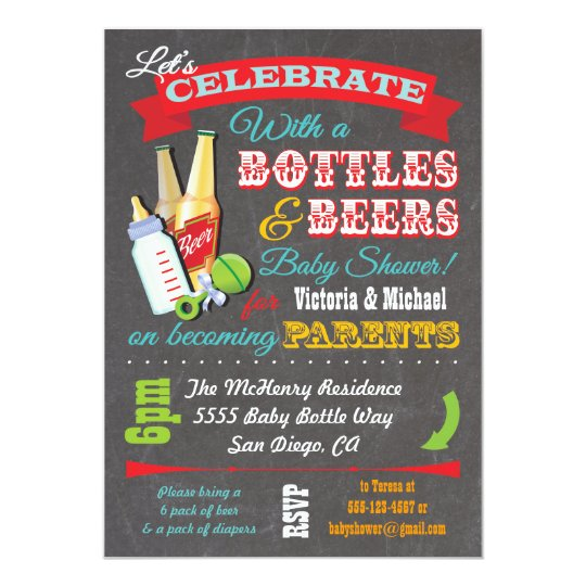 Lovely Bottles And Beer Couples Baby Shower Invitations