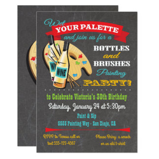 Bottles and Brushes Painting and Sip Art Party Card