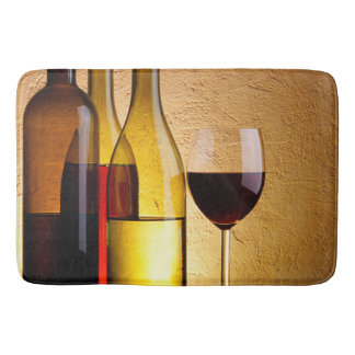 Bottles and Glass of Wine Bath Mat