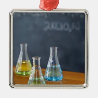 Bottles arranged for science experiment metal ornament