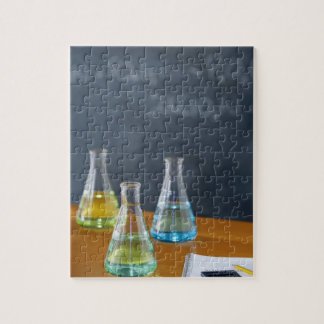Bottles arranged for science experiment puzzles