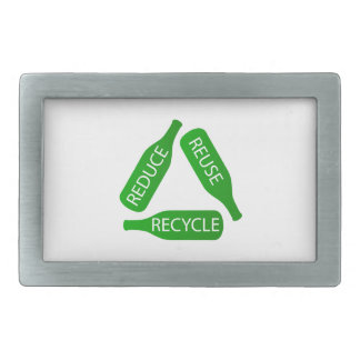 Bottles forming the recycle icon belt buckle