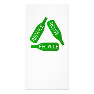Bottles forming the recycle icon card
