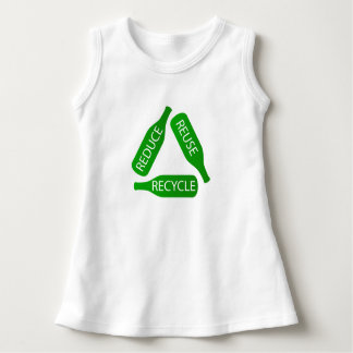 Bottles forming the recycle icon dress