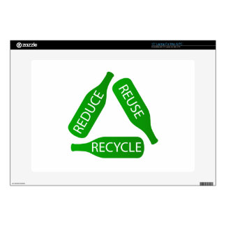 "Bottles forming the recycle icon skins for 15"" laptops"