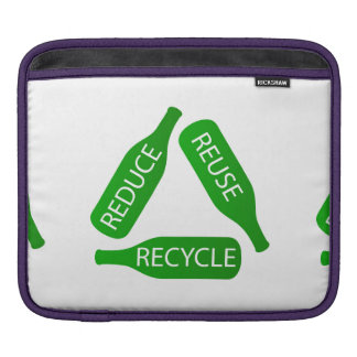 Bottles forming the recycle icon sleeve for iPads