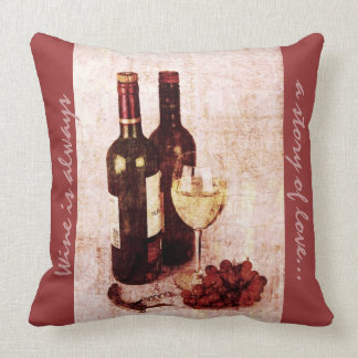 bottles, grapes and wine glass throw pillow
