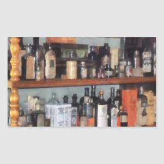 Bottles in General Store Rectangular Sticker