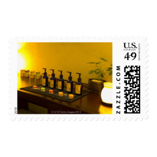 Bottles of aromatherapy oil in the beauty salon, postage