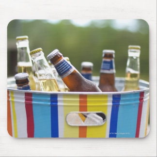 Bottles of beer in ice bucket mouse pad
