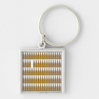 Bottles of beer on white background keychain
