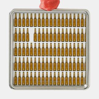 Bottles of beer on white background metal ornament