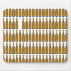 Bottles of beer on white background mouse pad
